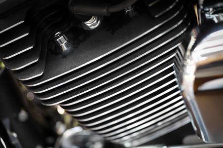 Close-up shot of an air-cooled motorcycle engine photo