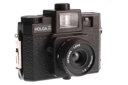 January 20, 2014 - Bucharest, Romania: Shot of a Holga film camera isolated on white. The Holga is a medium format film camera, made in Hong Kong.