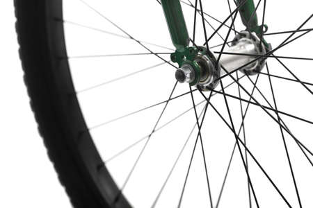 spokes: Color detail of the wheel of a bicycle, with spokes. Stock Photo