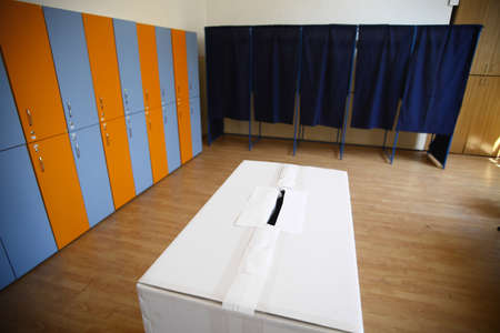polling station: Color shot of a poll at a polling station. Stock Photo