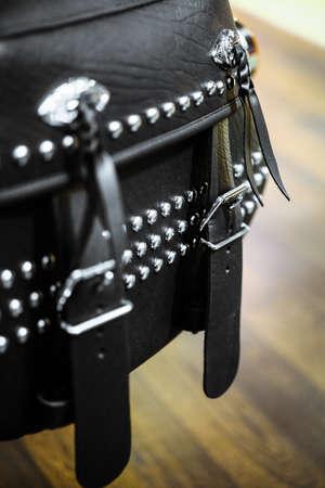 saddlebag: Close-up shot of a leather motorcycle side bag.