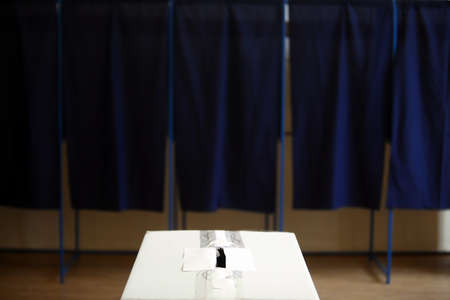 Color shot of a poll at a polling station. Stock Photo - 30471953