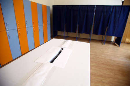 ballot box: Color shot of a poll at a polling station. Stock Photo