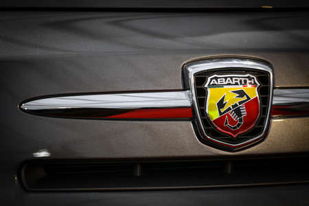 Bucharest, Romania - April 5, 2014: Color shot logo of a  the logo of a Abarth car. Abarth is a racing car and road car maker founded by Carlo Abart in 1949.