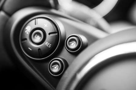Detail of the cruise control button on a steering wheel. Imagens