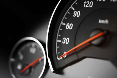 Close up shot of a speedometer in a car. Stock Photo - 33257805