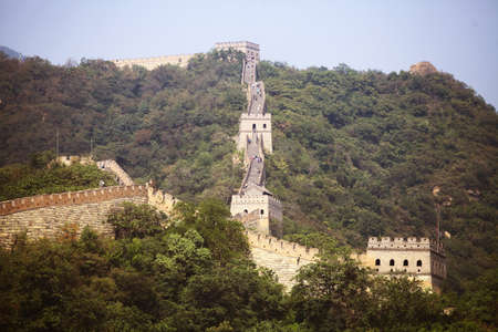 mutianyu: Mutianyu, China - September 19, 2014: Color horizontal picture of The Great Wall of China, at Mutianyu. Editorial