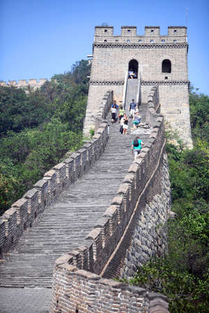 Mutianyu, China - September 19, 2014: Color vertical picture of The Great Wall of China, at Mutianyu.