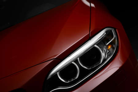 Detail on one of the LED headlights of a car. Standard-Bild