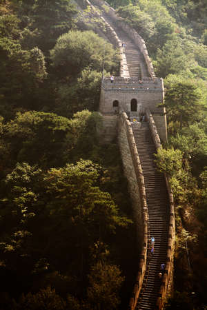 mutianyu: Mutianyu, China - September 19, 2014: Color vertical shot of The Great Wall of China, at Mutianyu. Editorial