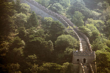 mutianyu: Mutianyu, China - September 19, 2014: Color horizontal shot of The Great Wall of China, at Mutianyu.