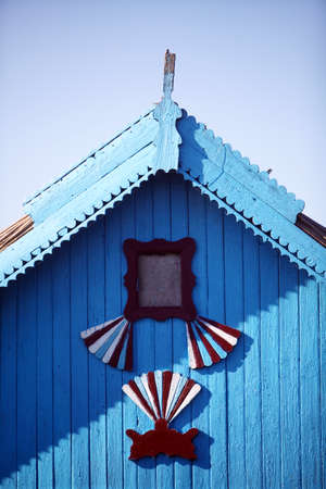 danube delta: Color detail of a traditional wooden house in the Danube Delta, Romania.
