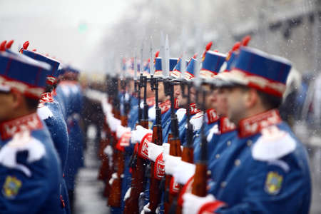 ceremonial clothing: Bucharest, Romania - December 1, 2014: Honor guards soldiers stand at attention during celebrations for Romania Editorial