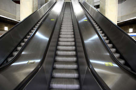 Color shot of some escalators in a metro station. photo