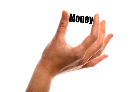 savings and loan crisis: Horizontal shot of a hand holding the word Money between two fingers, isolated on white. Stock Photo