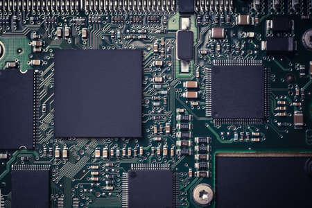 Horizontal shot of an electronic micro circuit. Stock Photo