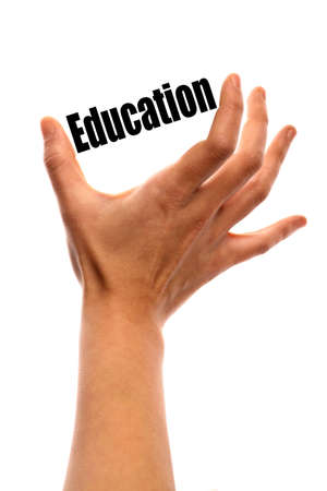 exact science: Vertical shot of a hand holding the word Education between two fingers, isolated on white.