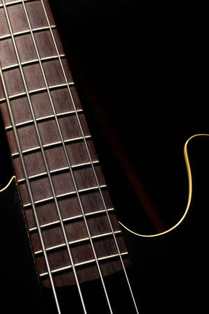 fret: Vertical detail of the fret board of a bass guitar, on a dark background.