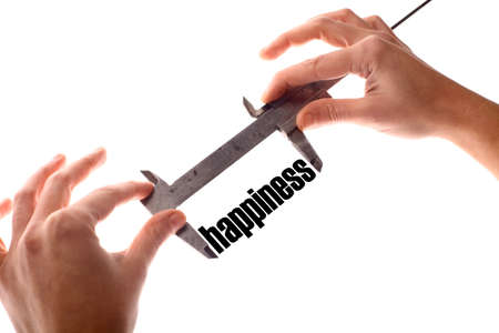 exact: Color horizontal shot of two hands holding a caliper and measuring the word happiness.