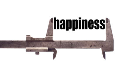 harmony idea: Color horizontal shot of a caliper and measuring the word happiness.