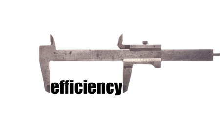 business symbols metaphors: Color horizontal shot of a caliper measuring the word efficiency.