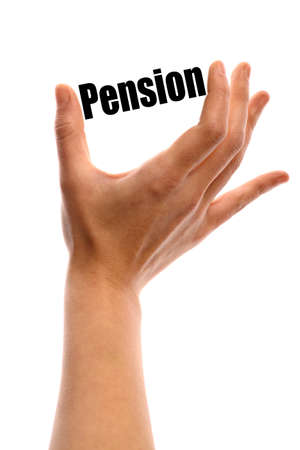 pension: Vertical shot of a hand holding the word Pension between two fingers, isolated on white.