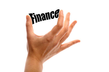Horizontal shot of a hand holding the word Finance between two fingers, isolated on white.