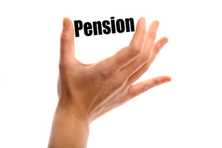 pension: Horizontal shot of a hand holding the word Pension between two fingers, isolated on white.
