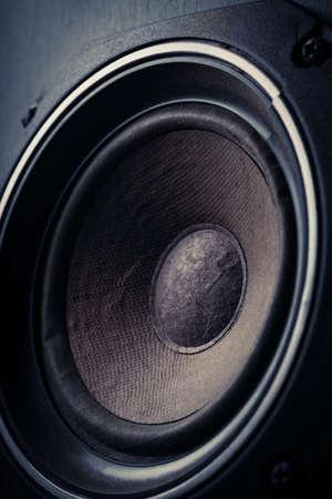 loudspeaker: Detail shot of some old round speakers. Stock Photo