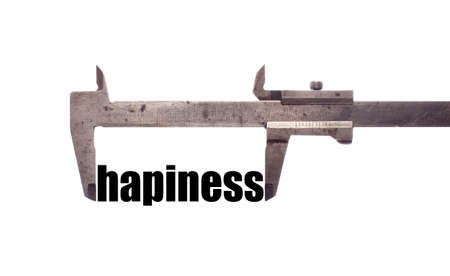 jubilation: Color horizontal shot of a caliper and measuring the word happiness.