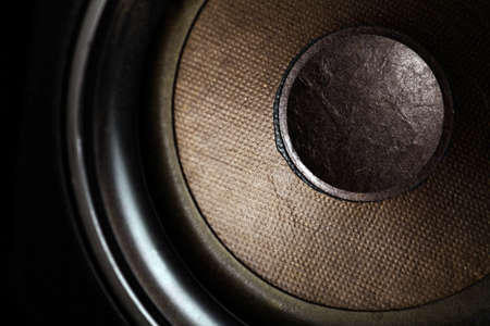 stereo subwoofer: Detail shot of some old round speakers. Stock Photo