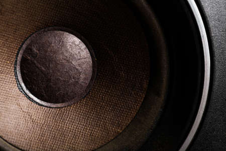 loud speaker: Detail shot of some old round speakers. Stock Photo
