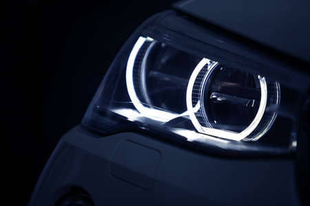 Detail on one of the LED headlights of a car. Stock Photo