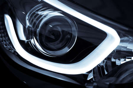 xenon: Detail on one of the LED headlights of a car. Stock Photo