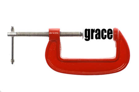 grace: The word grace is compressed with a vice.