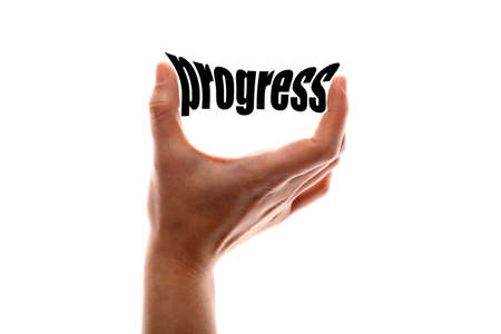 growth enhancement: Color horizontal shot of a of a hand squeezing the word progress. Stock Photo