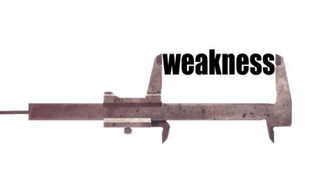 weakness: Color horizontal shot of a caliper and measuring the word weakness. Stock Photo