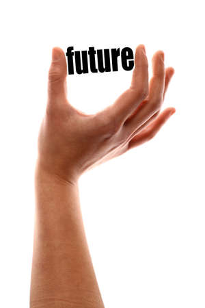 exact: Color vertical shot of a hand squeezing the word future. Stock Photo