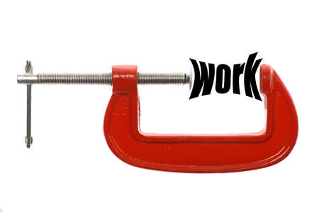 commitments: The word work is compressed with a vice.