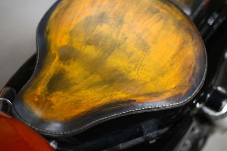 saddle: Color image of the saddle of a motorcycle.