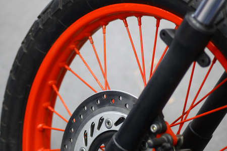 brake disc: Color image of the brake disc of a motorcycle. Stock Photo