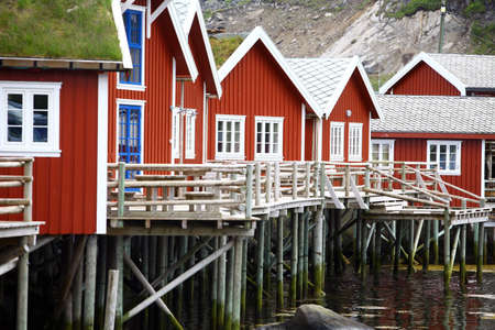 fishing hut: Color image of some traditional houses in Reine, Lofoten Islands, Norway.