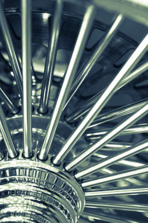 spokes: Close up shot of the spokes of a motorcycle wheel. Stock Photo