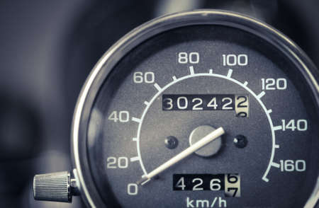 speedometer: Color detail with the speedometer of a motorcycle.