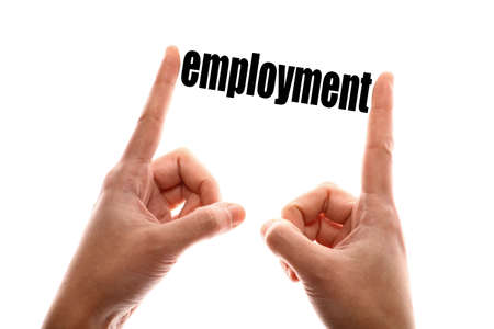 exact: Color horizontal shot of two hands squeezing the word employment.