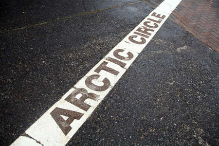 rovaniemi: Color image of the line of the arctic circle in Rovaniemi, Finland.