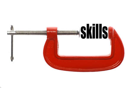 leading education: The word skills is compressed with a vice.