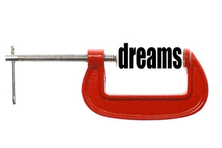 vice: The word dreams is compressed with a vice.