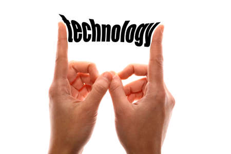 exact: Color horizontal shot of a of a hand squeezing the word technology. Stock Photo
