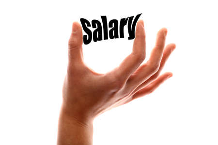 salary: Color horizontal shot of a of a hand squeezing the word salary. Stock Photo